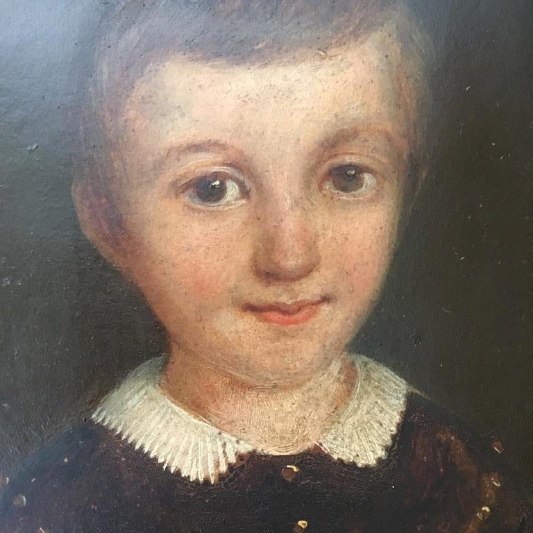 Victorian Portrait Oil on Millboard of a Young Boy