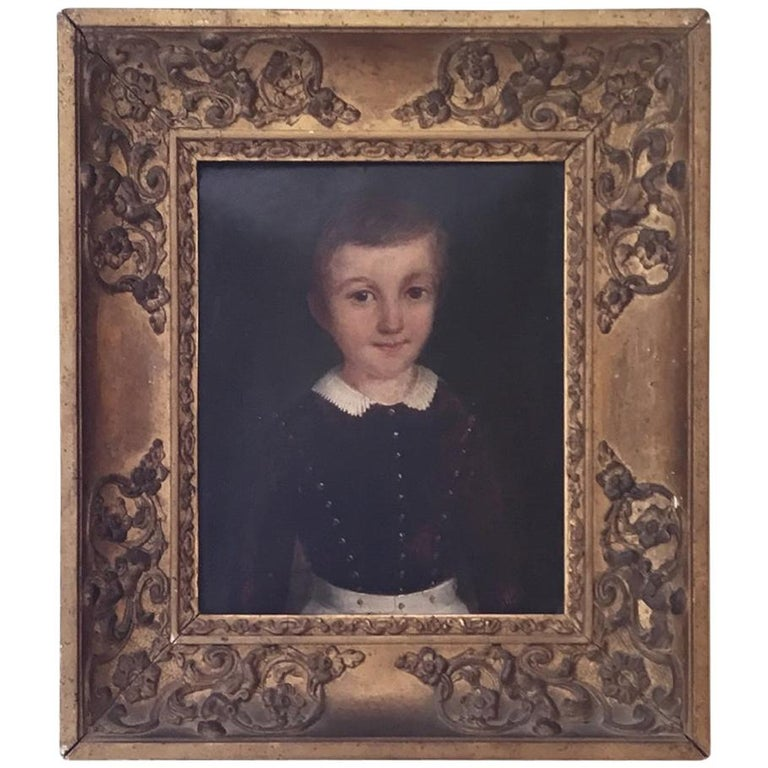 Portrait Oil on Millboard of a Young Boy