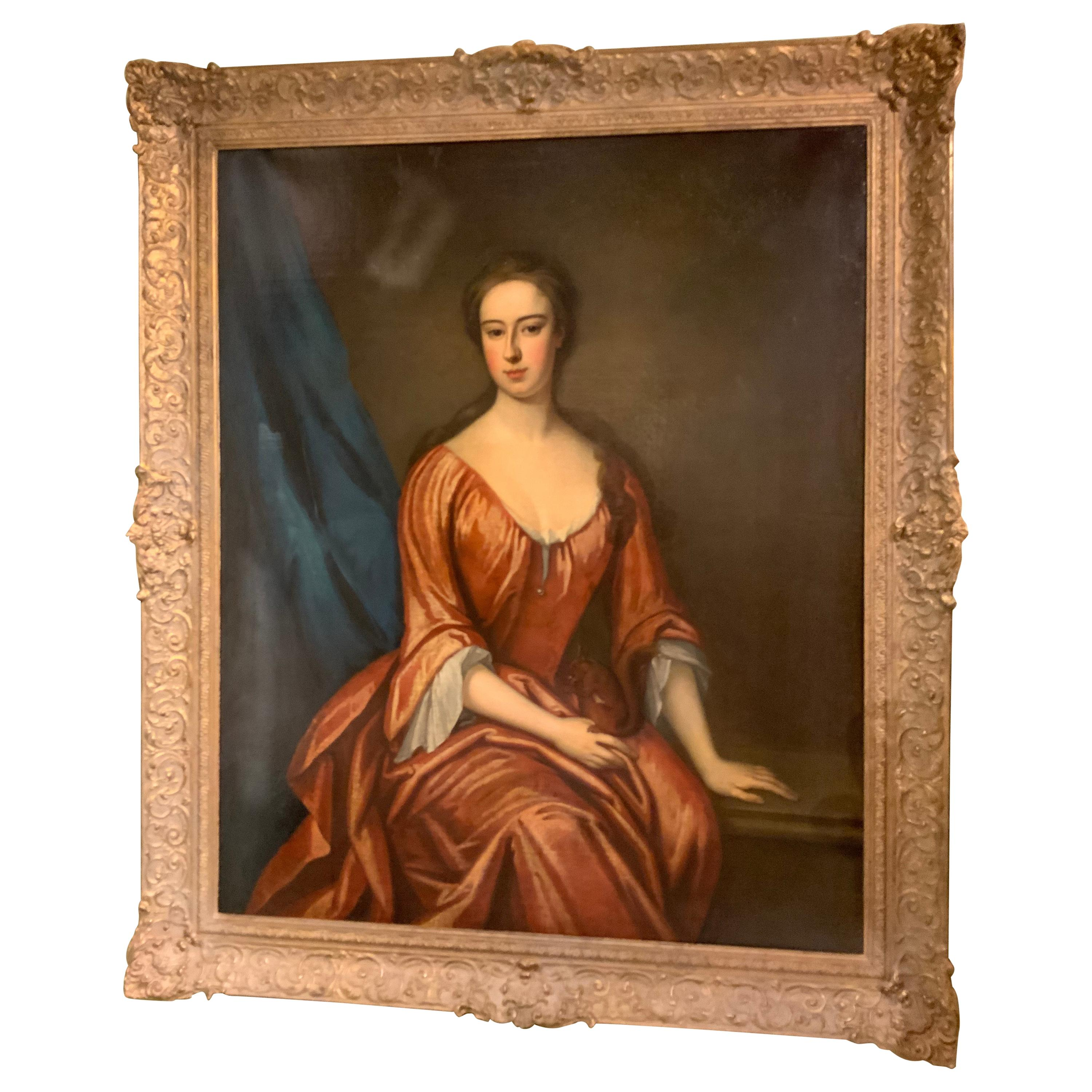 Portrait Oil Painting of a Young Woman After Sir Godfrey Kneeler
