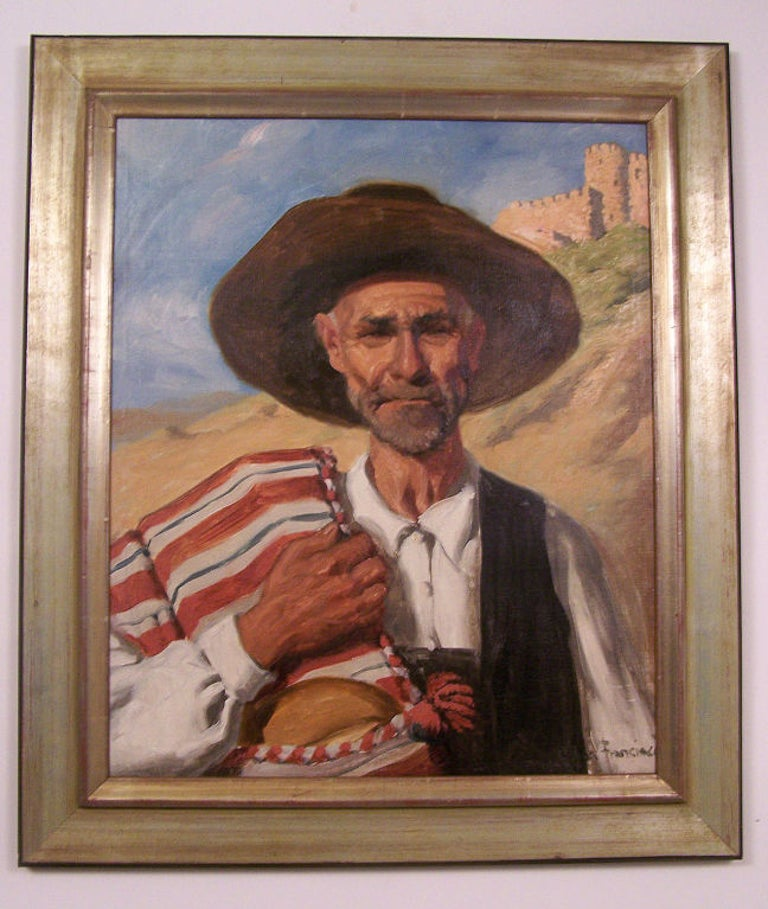 Framed oil on canvas of a South or Central American native. Painted by John Bond Francisco (b.1863-d.1931) an American California artist.