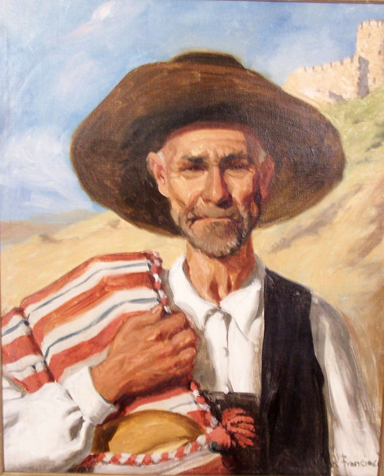 Hand-Painted Portrait Painting by California Artist John Bond Francisco, Early 20th Century For Sale