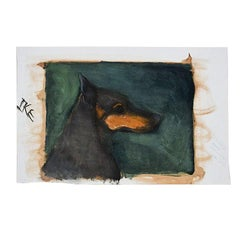 Portrait Painting of a Black Doberman Pincher Dog on Green Signed