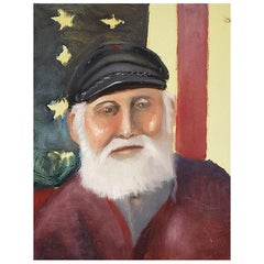 Portrait Painting of a Captain of a Ship with American Flag