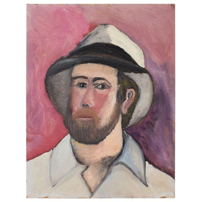 Portrait Painting of a Man in a Fedora on Pink, by Clair Seglem