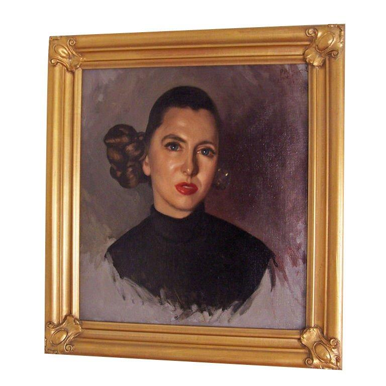 Portrait Painting of a Woman, American, 1954 In Good Condition For Sale In San Francisco, CA