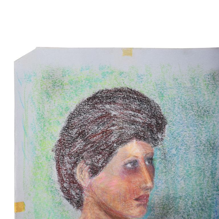 Portrait Painting of a Woman with Brown Hair In Good Condition For Sale In Oklahoma City, OK