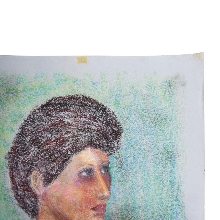20th Century Portrait Painting of a Woman with Brown Hair For Sale