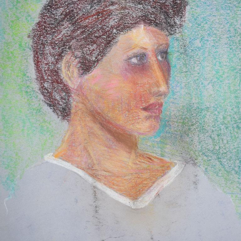 Paper Portrait Painting of a Woman with Brown Hair For Sale