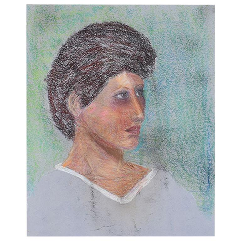 Portrait Painting of a Woman with Brown Hair For Sale