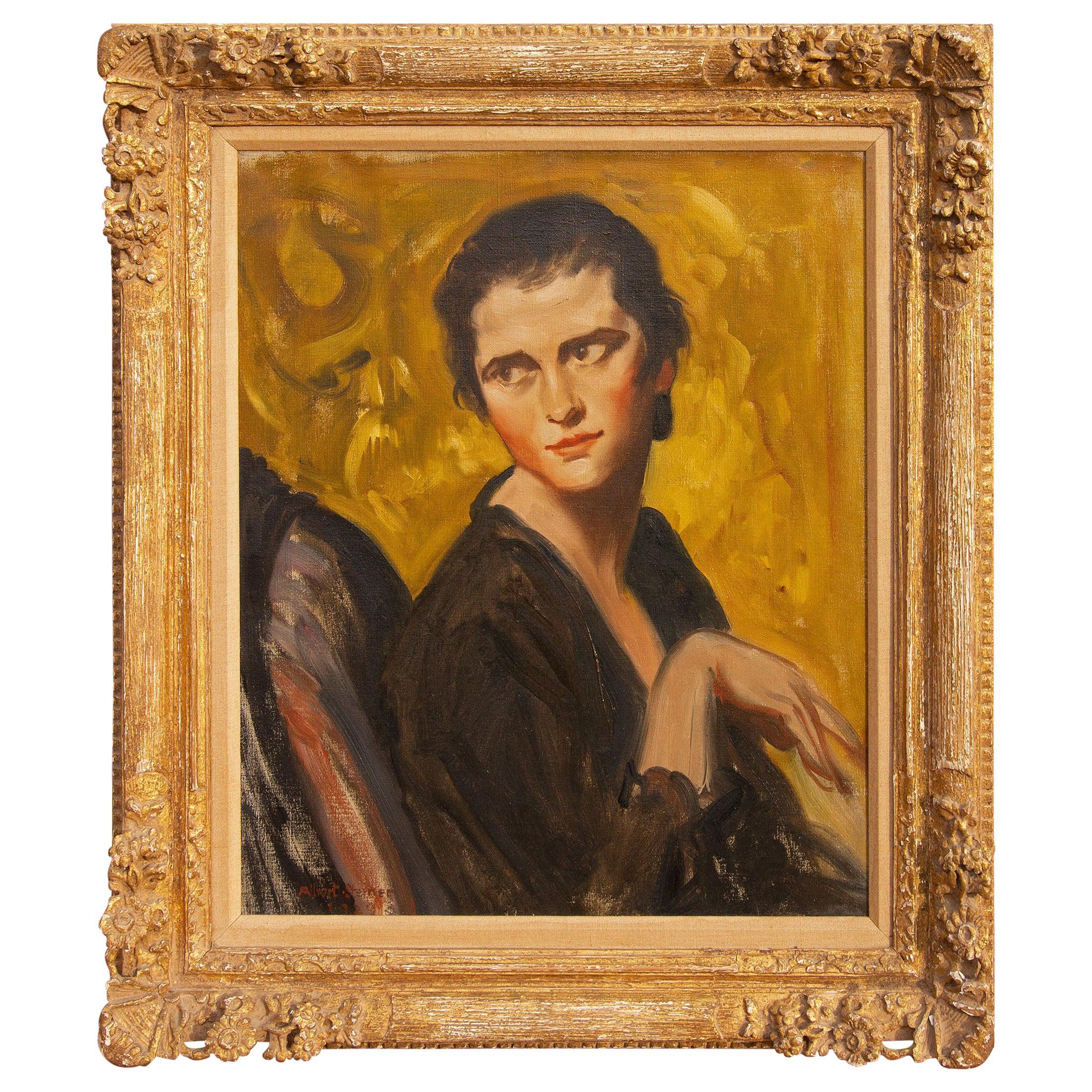 """Portrait Painting of """"Vivienne"""" by Albert Sterner, 1929"""