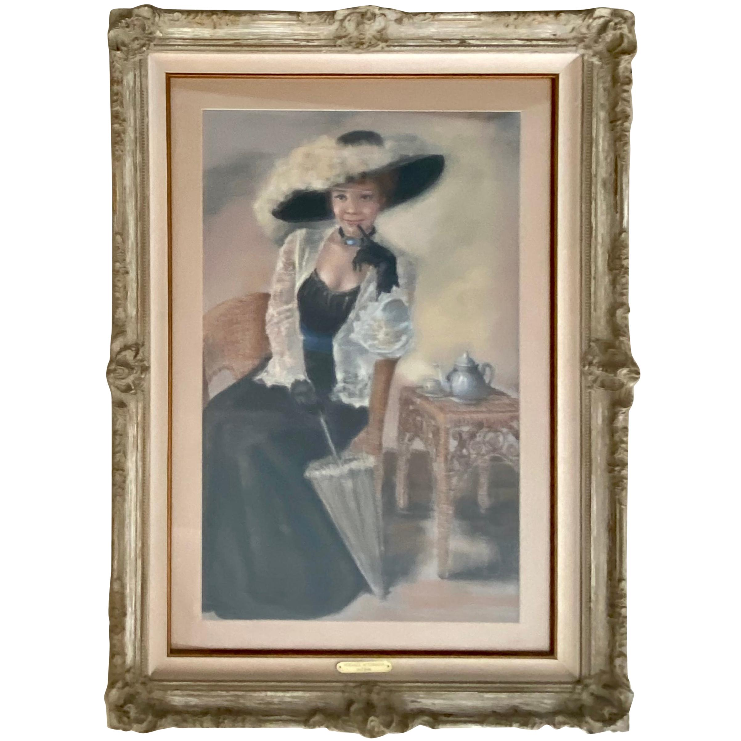 Portrait Pastel Painting, Pretty Lady in Hat