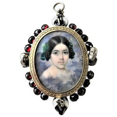 Portrait Pendant hand painted historicism Garnet 1860s Silver and 18 K gold