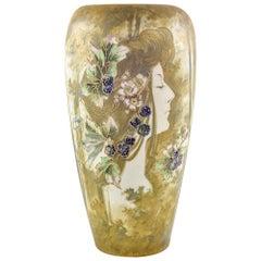 Portrait Vase Art Nouveau Ceramics Amphora Bohemia circa 1898 Flowers