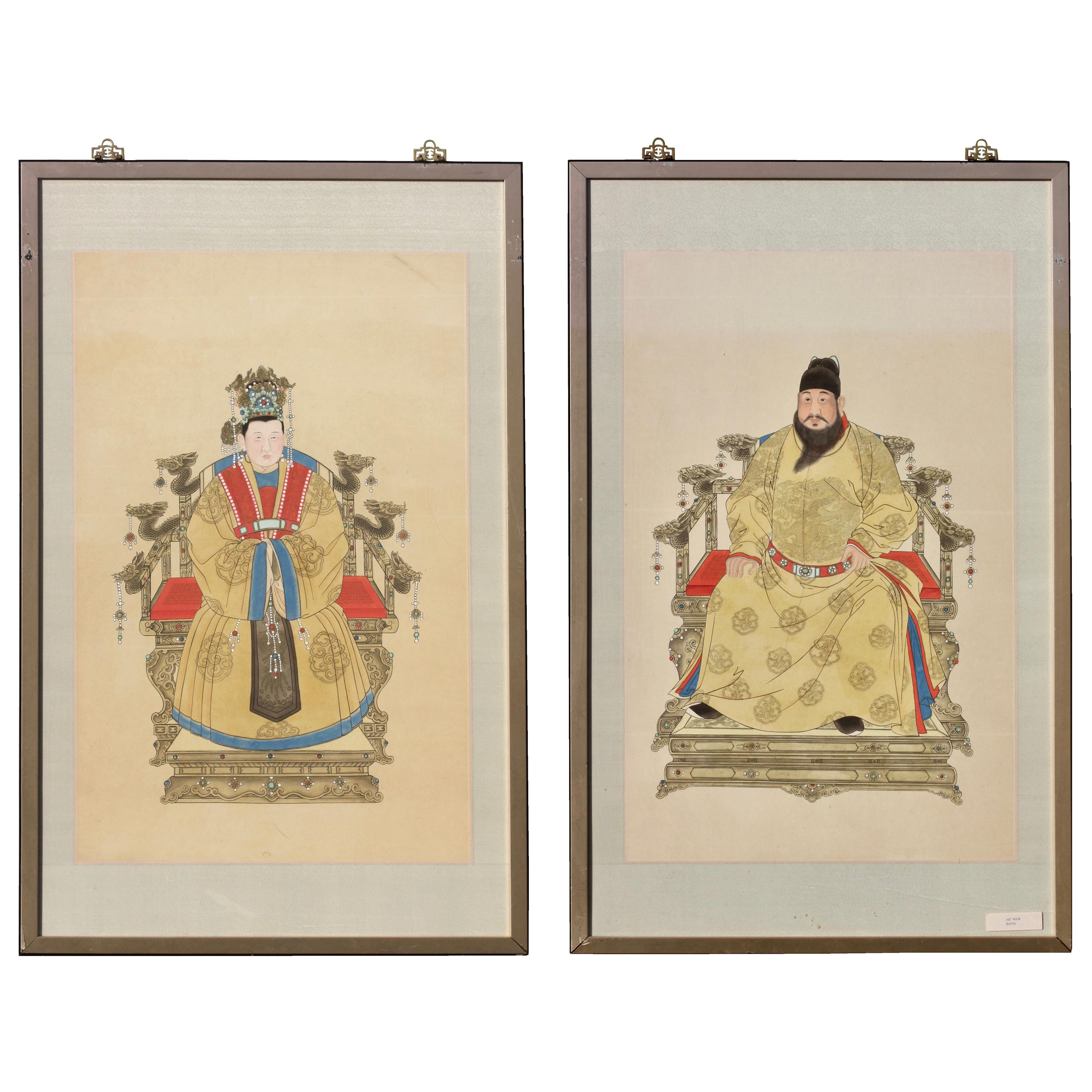 Portraits of a Ming Dynasty Emperor and Empress, Chinese Ink and Color on Paper