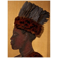 Portrait of a Kongo Chief with Feather Headdress, Plant Material on Jute, Framed