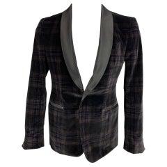 PORTS 1961 Size 38 Regular Black & Grey Plaid Velvet Shawl Collar Sport Coat