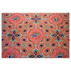Portugese Vintage Arraiolos Carpet, Woven Needlework, circa 1980