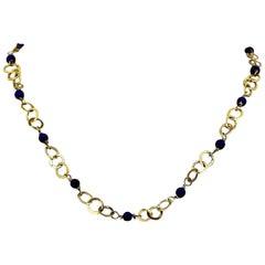 Portuguese 14 Karat Yellow Gold Necklace with Natural Lapis Lazuli Beads, 1950s