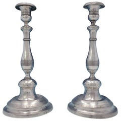 Portuguese .800-.850 Silver Candlestick Pair with Bands Handwrought