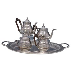 Portuguese .833 Silver Tea Set 5-Piece with Fluted / Ribbed Design