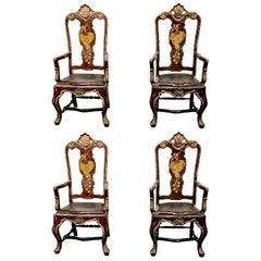 Portuguese Baroque Painted Armchairs, circa 1770, Set of Four