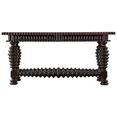 Portuguese Baroque Style Mahogany Library Table Console