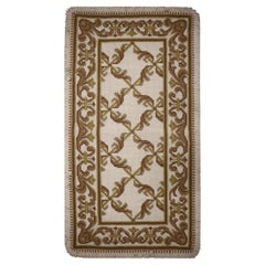 Portuguese Beige Cream Needlepoint Rug Hand Woven Traditional Carpet