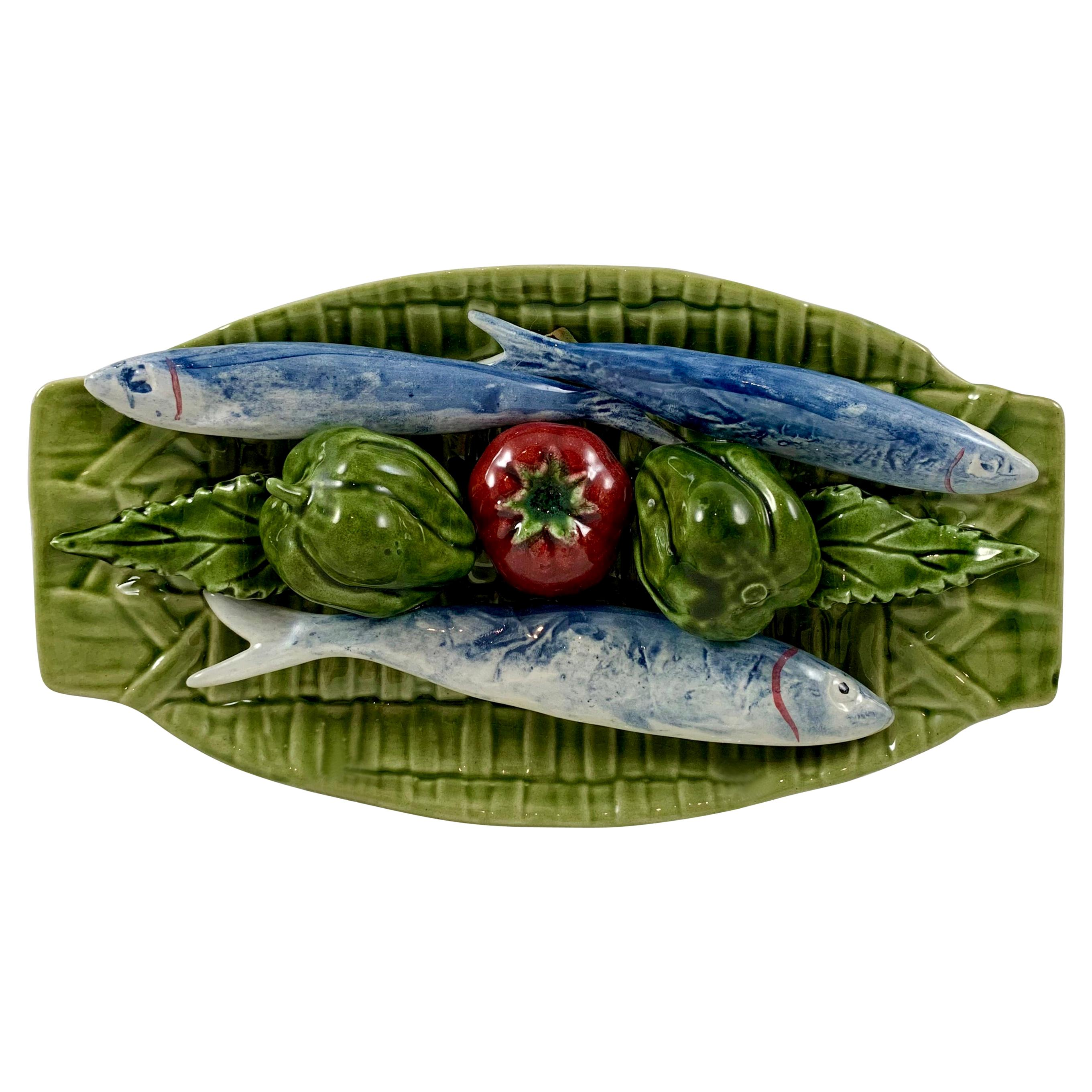 Portuguese C. Rainha Trompe L'oeil Palissy Style Fish and Vegetable Wall Plaque