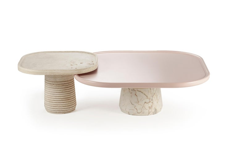 Brutalist Portuguese Center Table Poppy with pink top and white Marble base by Mambo For Sale