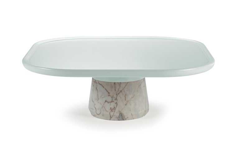 Portuguese Center Table Poppy with pink top and white Marble base by Mambo For Sale 1
