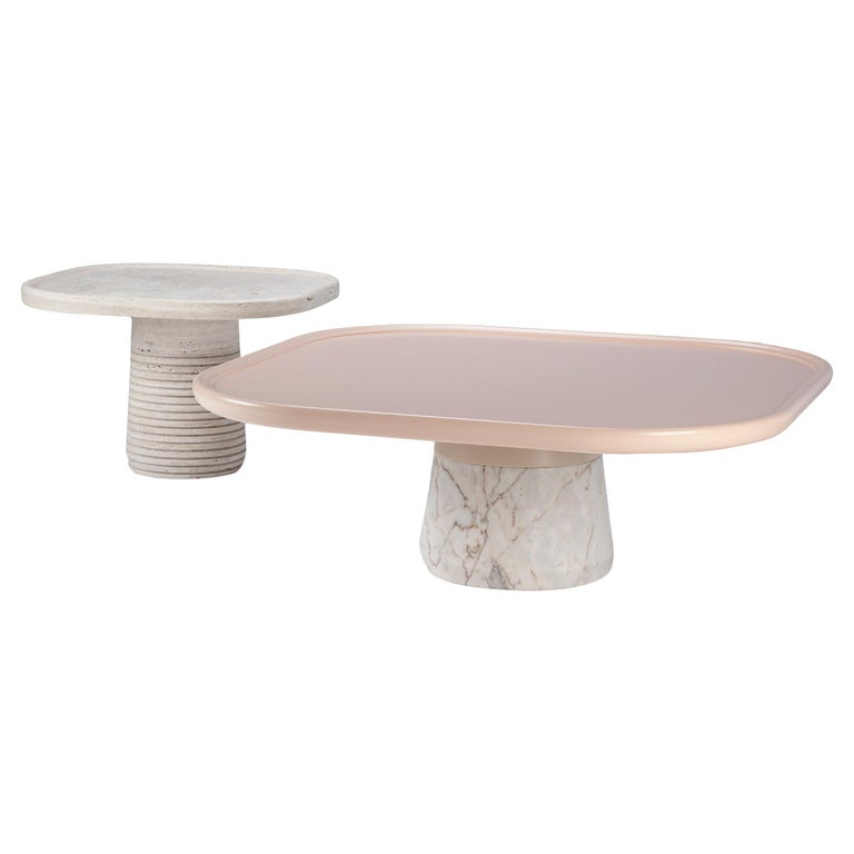 Portuguese Center Table Poppy with pink top and white Marble base by Mambo For Sale