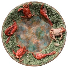 Portuguese Ceramic Barbotine Wall Hanging Platter with Crab and Shrimp Decor