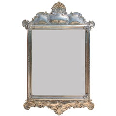 Portuguese Embossed Alpaca Silver Mirror Frame with a Seashell & Peacock Design