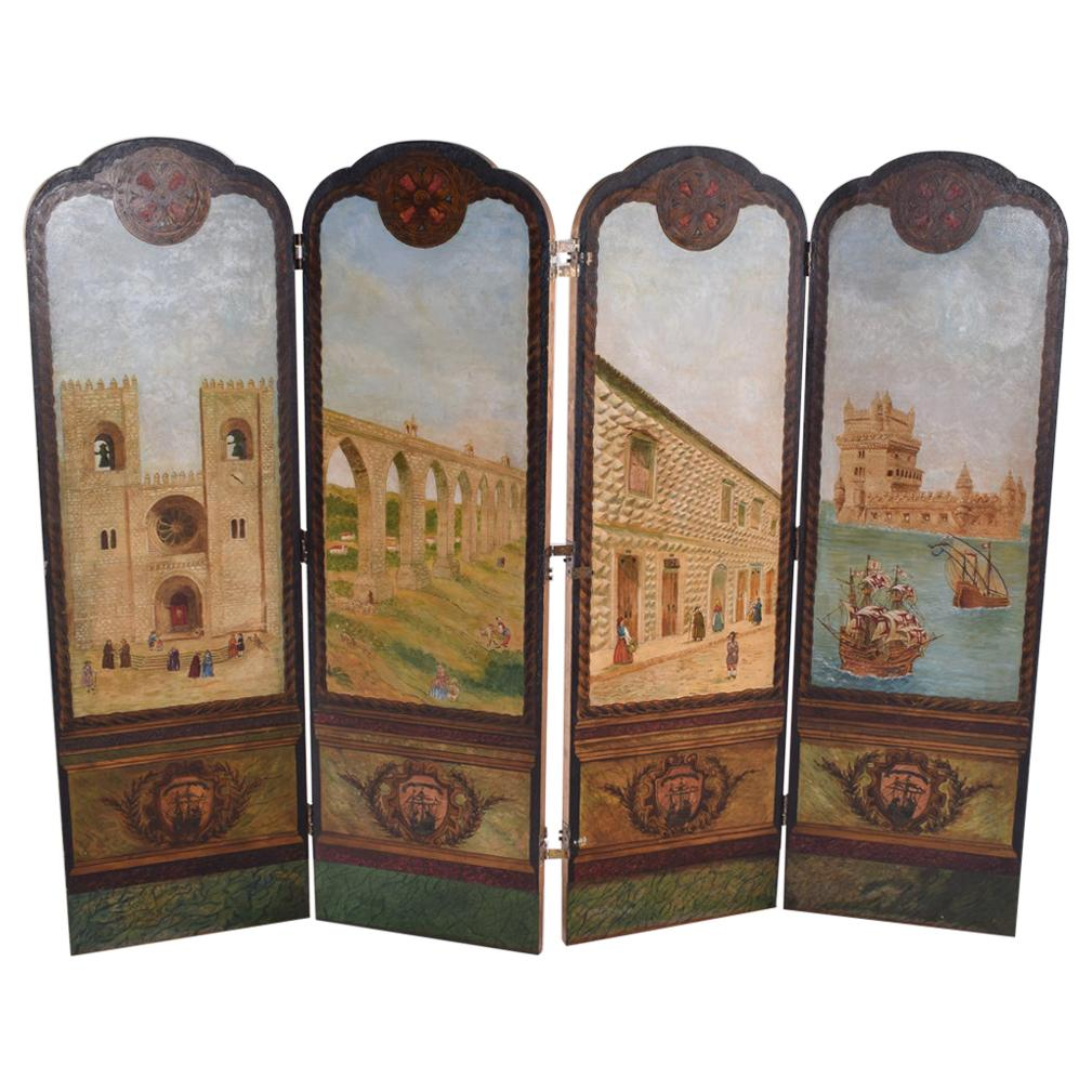 Portuguese Hand Painted Dressing Screen