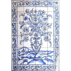 Portuguese Hand-Painted Glazed Ceramic Tile Panel