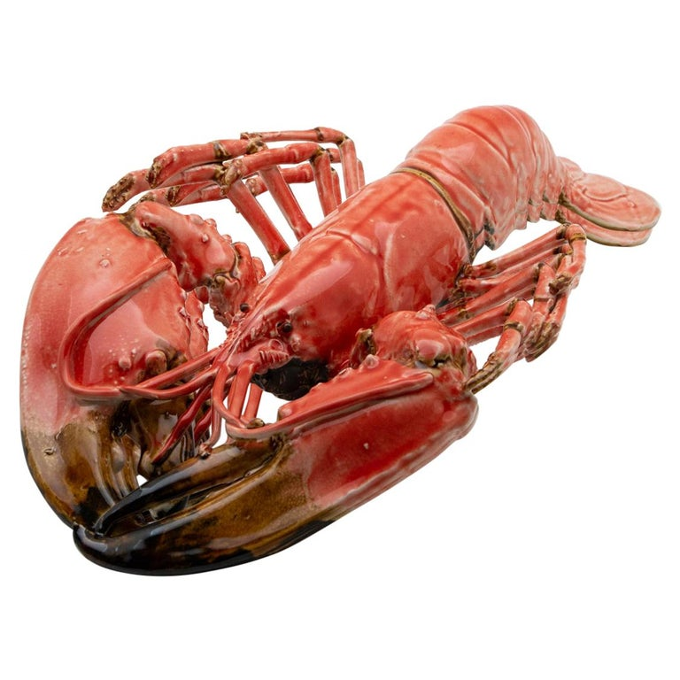 Portuguese Handmade Pallissy or Majolica Large Coral Lobster For Sale