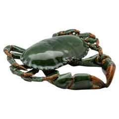 Portuguese Handmade Pallissy or Majollica Green Ceramic Crab