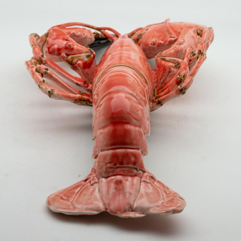 Portuguese handmade Pallissy or Majolica large coral lobster.