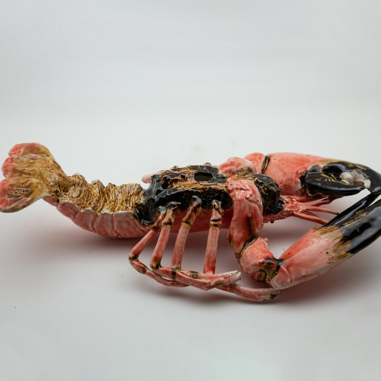 Ceramic Portuguese Handmade Pallissy or Majolica Large Coral Lobster For Sale
