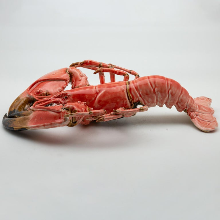 Portuguese Handmade Pallissy or Majolica Large Coral Lobster For Sale 2