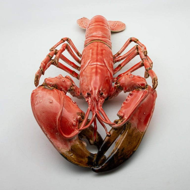 Portuguese Handmade Pallissy or Majolica Large Coral Lobster For Sale 4
