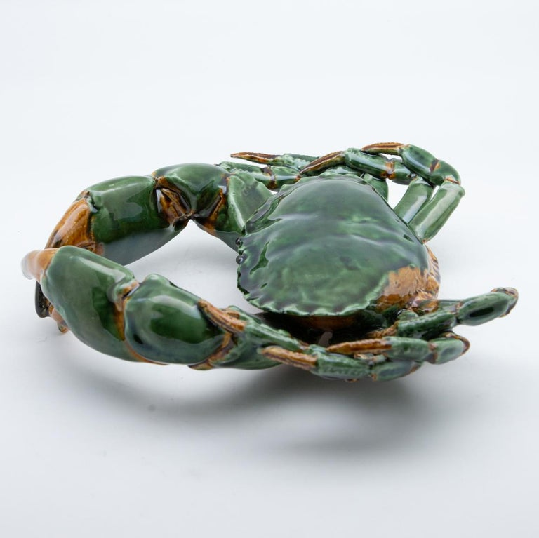 Portuguese Handmade Pallissy or Majollica large green ceramic crab  Ceramic sea life art has long been a tradition in Portugal. It was inspired by the