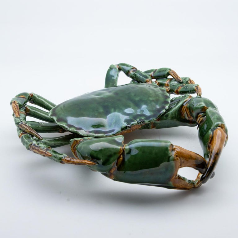 Contemporary Portuguese Handmade Pallissy or Majollica Large Green Ceramic Crab For Sale
