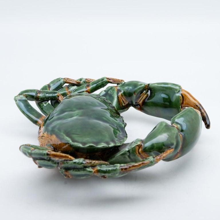 Portuguese Handmade Pallissy or Majollica Large Green Ceramic Crab For Sale 1