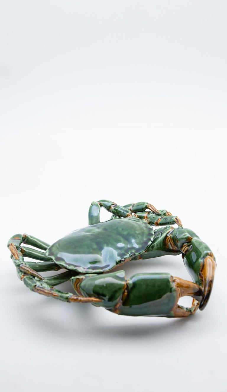Portuguese Handmade Pallissy or Majollica Large Green Ceramic Crab For Sale 3