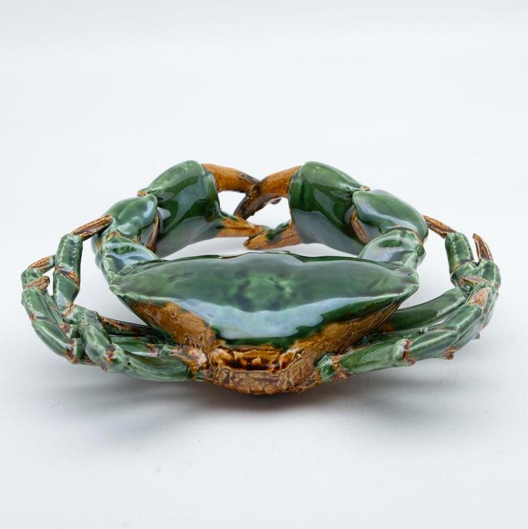 Portuguese Handmade Pallissy or Majollica Large Green Ceramic Crab For Sale 4