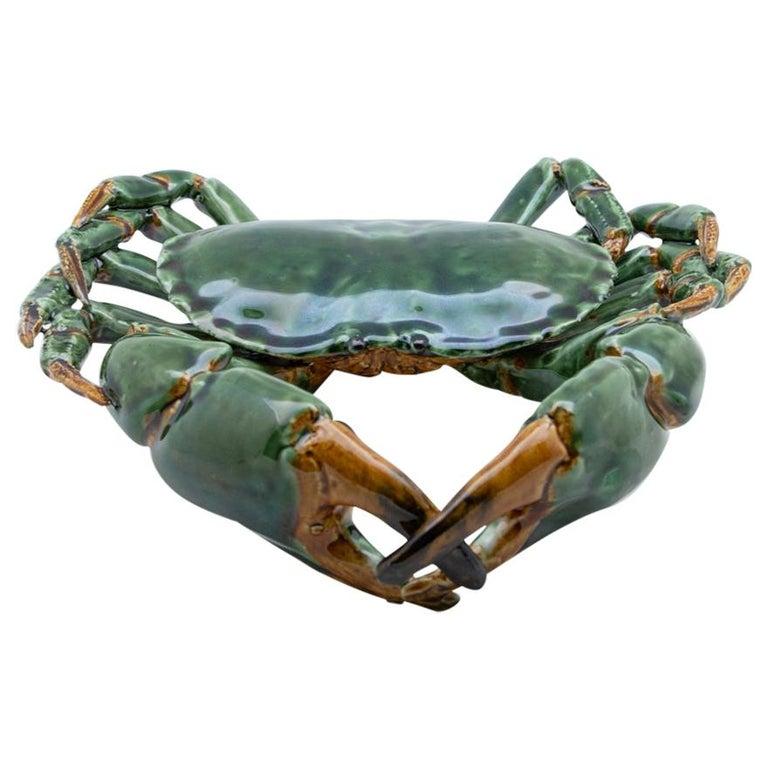 Portuguese Handmade Pallissy or Majollica Large Green Ceramic Crab For Sale