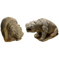 Portuguese Pair of Carved Stone Hippos, 18th Century