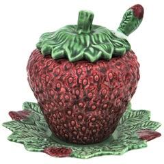 Portuguese Red Strawberry Glazed Ceramic Small Tureen by Bordalo Pinheiro