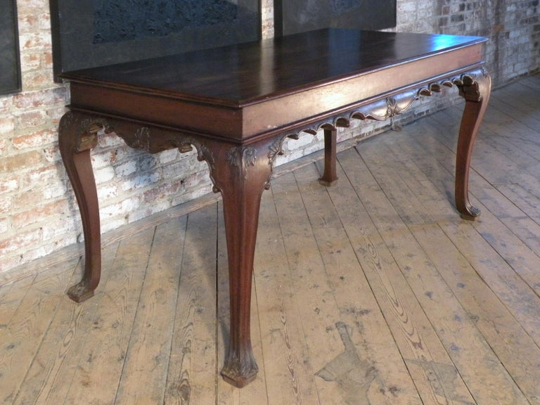 Carved Portuguese Rococo 18th Century Mahogany Console Table / Side Table For Sale